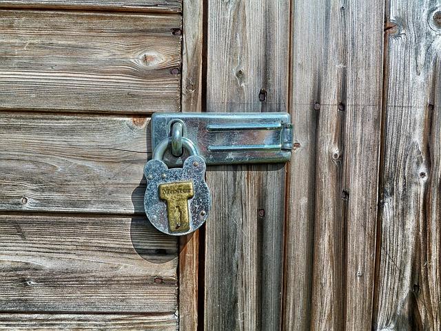 מנעול על דלת עם מנעולן מודיעין